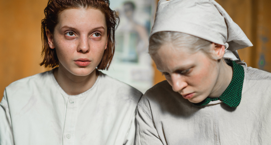 Viktoria Miroshnichenko and Vasilisa Perelygina in a scene from <i>Beanpole</i>, courtesy Kino Lorber