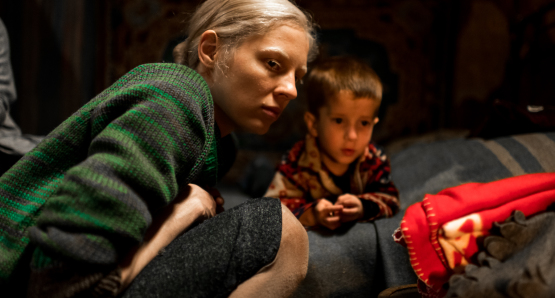 Viktoria Miroshnichenko and Timofey Glazkov in a scene from <i>Beanpole</i>, courtesy Kino Lorber