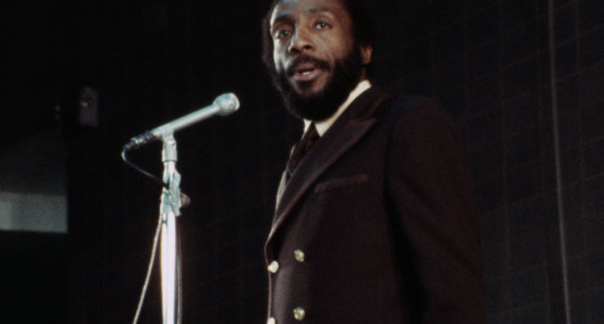 Dick Gregory in a scene from <i>Nationtime</i>, courtesy Kino Lorber