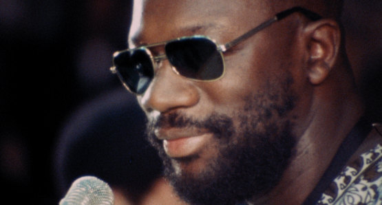 Isaac Hayes in a scene from <i>Nationtime</i>, courtesy Kino Lorber