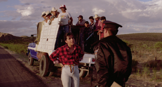 Zaide Silvia Gutiérrez as Griselda and Roberto Sosa as Pedro in Alex Cox's HIGHWAY PATROLMAN.