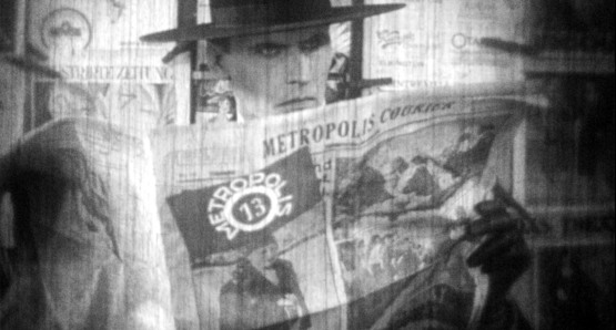 "Fritz Rasp as Joh Frederson spy as ""Slim"" in a scene from the newly recovered footage"